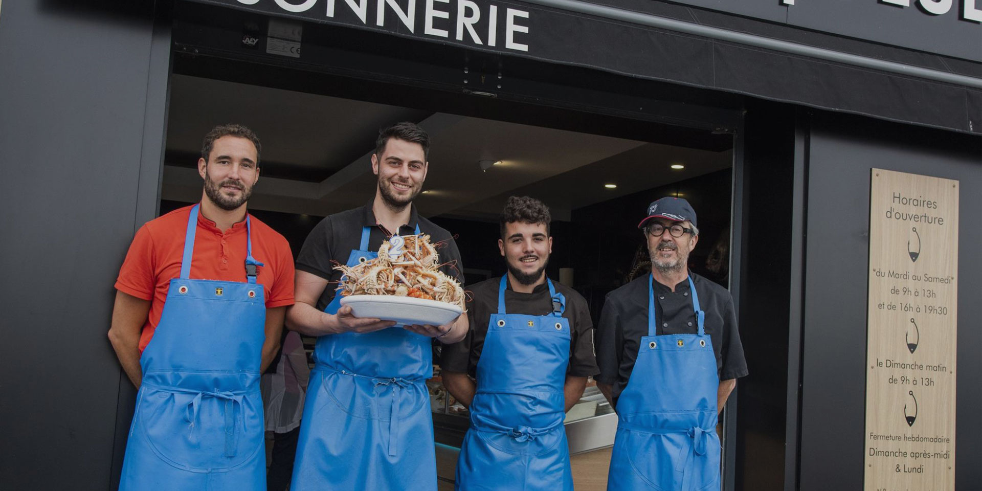 Équipe poissonnerie maison Geslain à Caen